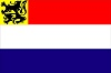 Dutch flag with Flemish flag in the left top corner